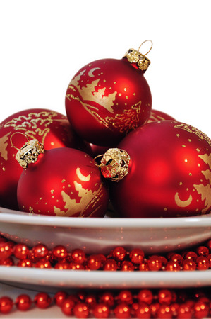 jahreswechsel: red Christmas balls on white background Stock Photo
