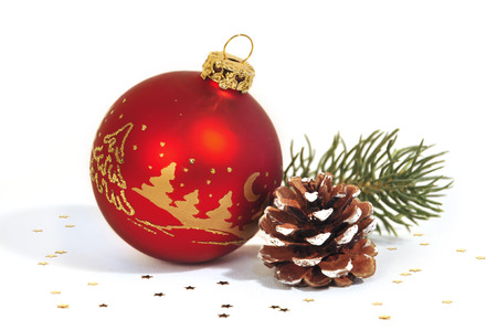 weihnachtsbaum: red Christmas balls on white background Stock Photo