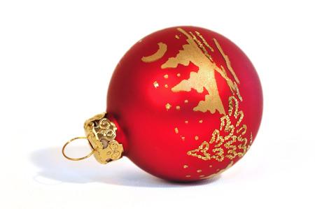 weihnachtsbaum: red Christmas balls on white background Stock Photo