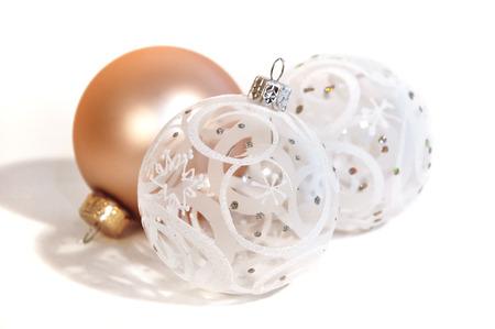 kugel: three glass christmas balls on white background