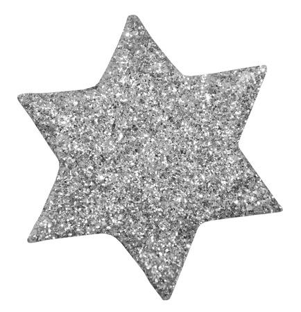 jahreswechsel: silver glitter star with white background
