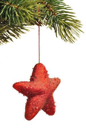 kugel: hang up red christmas decoration Stock Photo