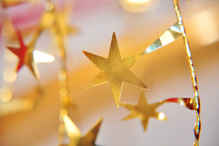 jahreswechsel: details of red and golden christmas decoration Stock Photo
