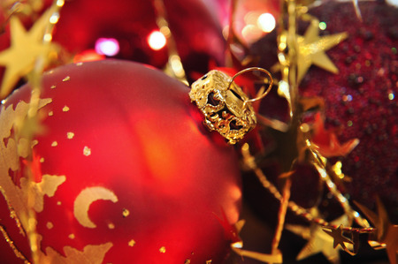 kugel: details of red and golden christmas decoration Stock Photo