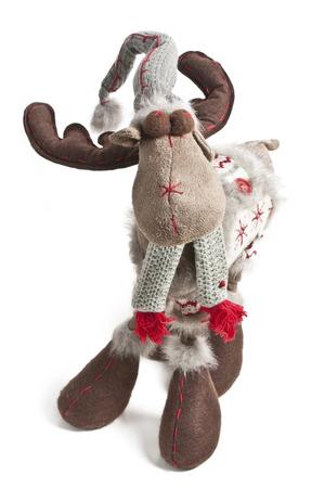 jahreswechsel: reindeer, soft toy with white background