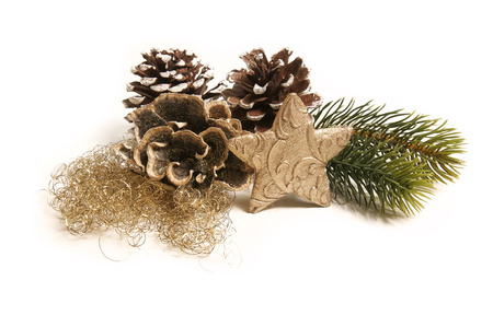 isolated christmas decoration with a golden star 版權商用圖片