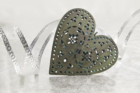 Türkis Weihnachts Herz mit Silberband