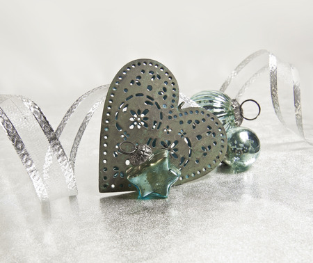 jahreswechsel: turquoise Christmas decoration; star, heart and bauble