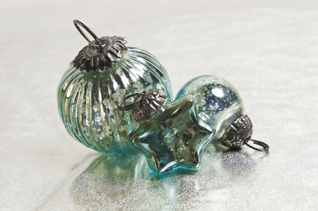 kugel: turquoise Christmas decoration; star and bauble
