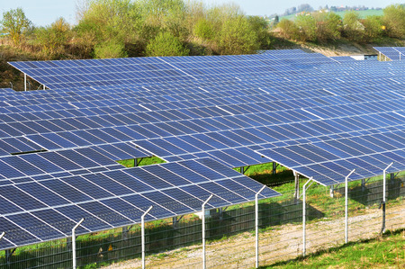 metall and glass: solar energy, green electricity, solar field Stock Photo