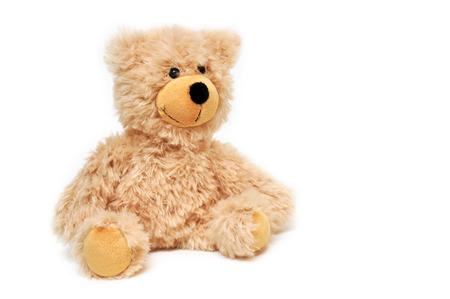 bruine teddybeer voor witte achtergrond
