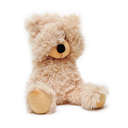 spiel: brown teddy holds his paws over his eyes