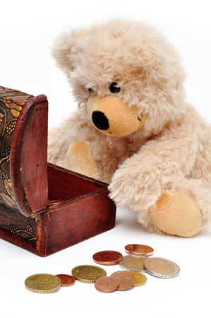 isoliert: brown teddy bear looks into a treasure chest