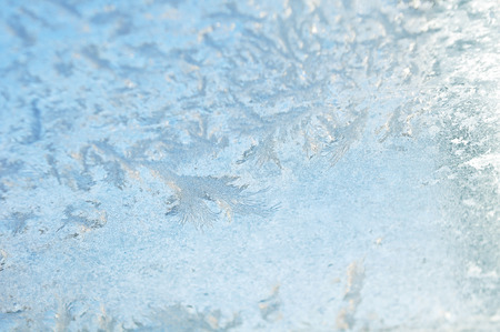 frozen ice crystals with glass pane Stock Photo
