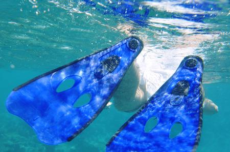 mensch: Underwater World Maldives, snorkeling man Stock Photo