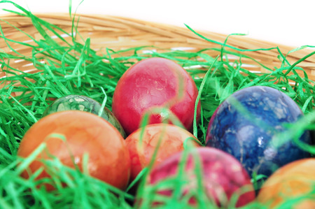 ei: Easter basket with easter eggs Stock Photo