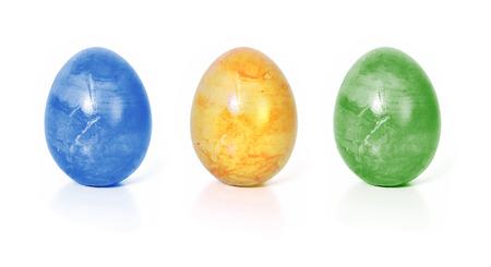 drie kleurrijke paaseieren, geïsoleerde Stockfoto