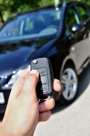 use of car key with car in the background photo