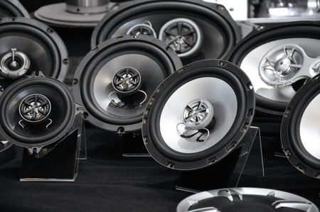 hifi: many car speakers, car hifi Stock Photo