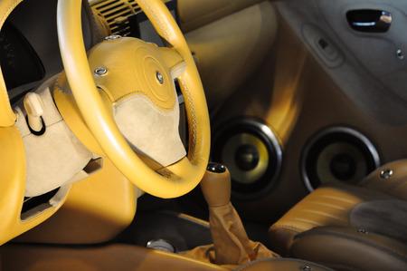 tuned: Interior of a tuned car Stock Photo