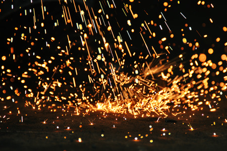 sparks from a plasma cutter photo