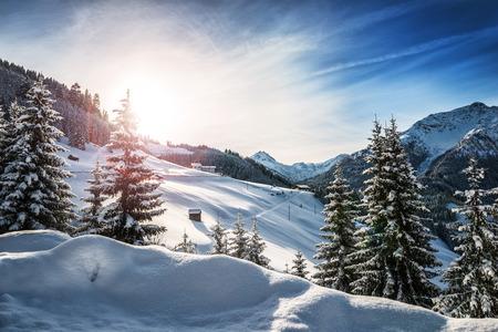Zimowy krajobraz w Alpach Zdjęcie Seryjne