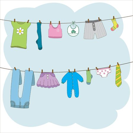 Clean clothes hanging on clothesline. Trousers, pants, skirt, sock, tie, t-shirt on clothes rope. Vector illustration in cartoon style
