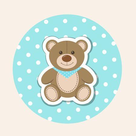 Cartoon teddy bear on polka dot background. Newborn, baby shower, birthday greeting card. Vector illustration