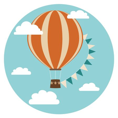Hot air balloon with flags and clouds in the sky. Vector illustration in cartoon style. Retro poster