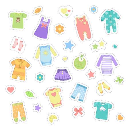 Baby clothes stickers, pin badges, patches. Cute children clothes set. Kids dress, pajamas, t-shirt, sleepwear, skirt, trousers, socks, pants, bib. Vector illustration in flat cartoon style Ilustração