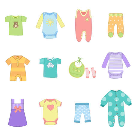 Cute baby multicolored clothes set on white background. T-shirt, dress, romper, bodysuit, pants, bib, socks. Icon collection or elements for invitation. Vector illustration in flat cartoon style Ilustração