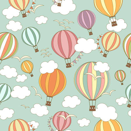 Multicolored striped hot air balloons with buntings, birds and clouds in the sky. Seamless pattern. Cute background, kids wallpaper. Vector illustration in cartoon style