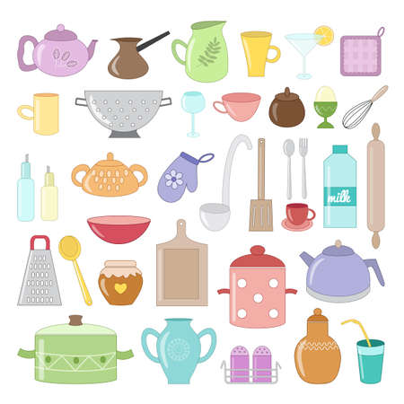 Cute kitchen utensils, tools, tableware set. Colored cook equipment. Icons design. Isolated on white background. Vector illustration in cartoon flat style