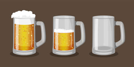 Three mugs of light beer with one full, one half-full and one empty. Vector illustration in cartoon style