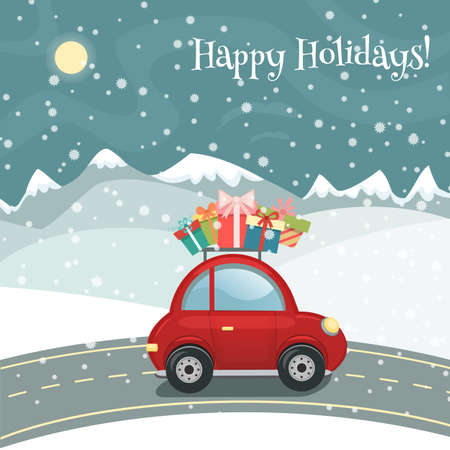 Merry Christmas or Happy New Year greeting card in cartoon style. Snowy landscape with mountains, hills and red retro car with gift boxes. Holiday background, invitation. Vector illustration