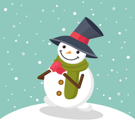 Christmas greeting card with cute smiling snowman in big hat, green scarf and red mittens with snowflakes. Flat vector illustration in cartoon style