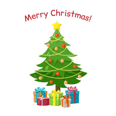 Decorated Christmas tree with star, gift boxes, balls and beaded garland, isolated on white background. New Year and Merry Christmas greeting card, poster, icon. Vector illustration in cartoon style