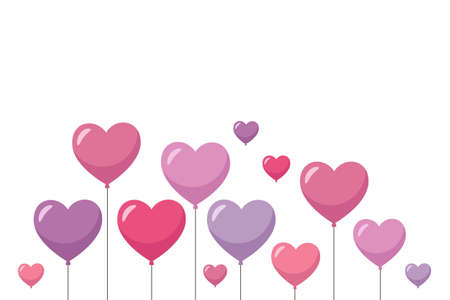 Purple and pink heart balloons. Holiday background, greeting card. Happy Valentine's Day. Vector illustration in cartoon style