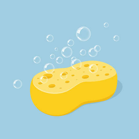 Yellow sponge for washing or cleaning with foam bubbles. Vector illustration in cartoon style, icon isolated