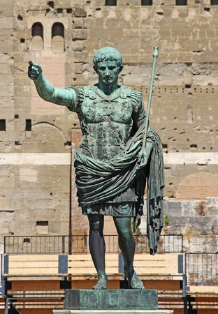 conquest: Statue of Octavian Augustus in the street of the Imperial Forum in Rome, Italy, Europe