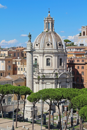 chiesa: Column of Trajan and the Chiesa del Santissimo Nome di Maria in Rome, Italy