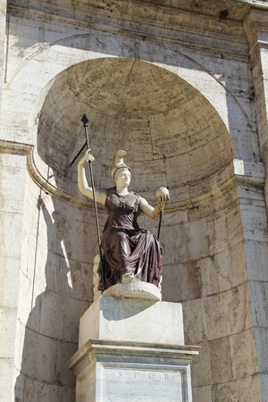minerva: Statue jubilant Rome with a ball in his hand - a symbol of Roman rule. Capitol Hill. Rome