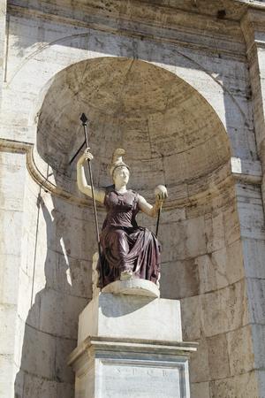 senators: Statue jubilant Rome with a ball in his hand - a symbol of Roman rule. Capitol Hill. Rome