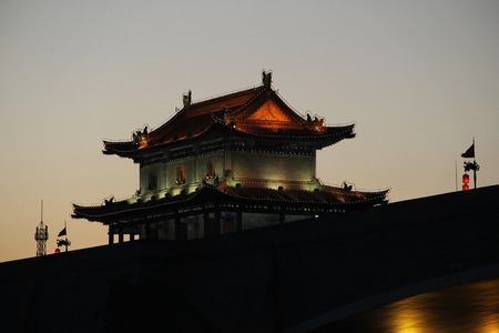 nightscape: Tower of the ancient city wall of Xian in the evening. China