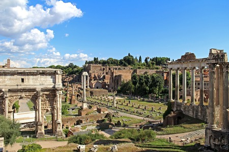 severus: View of the ruins and the Arch of Septimius Severus of the Roman Forum in Rome, Italy. Stock Photo