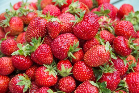 directly: Background from freshly harvested strawberries, directly above. Stock Photo