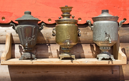 Traditional Russian iron samovar for tea. Russia. Stock Photo
