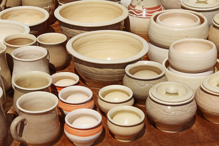 made russia: Colorful traditional pottery. Utensils made of clay for cooking. Russia. Stock Photo