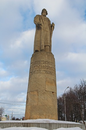 kostroma: A monument to Susanin in Kostroma, located on Dairy hill, Russia. Ivan Susanin patriot of the Russian Land. Russia.