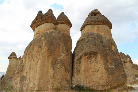 Natural valley with volcanic tuff stone rocks in Pasabag in Cappadocia, Central Anatolia region of Turkey. Popular tourist destination in Turkey for trekking. Stock Photo